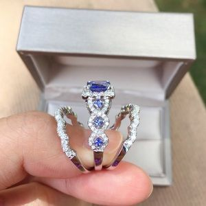 Jewelry - 3pcs 925 Silver Engagement Ring Wedding Bands Set